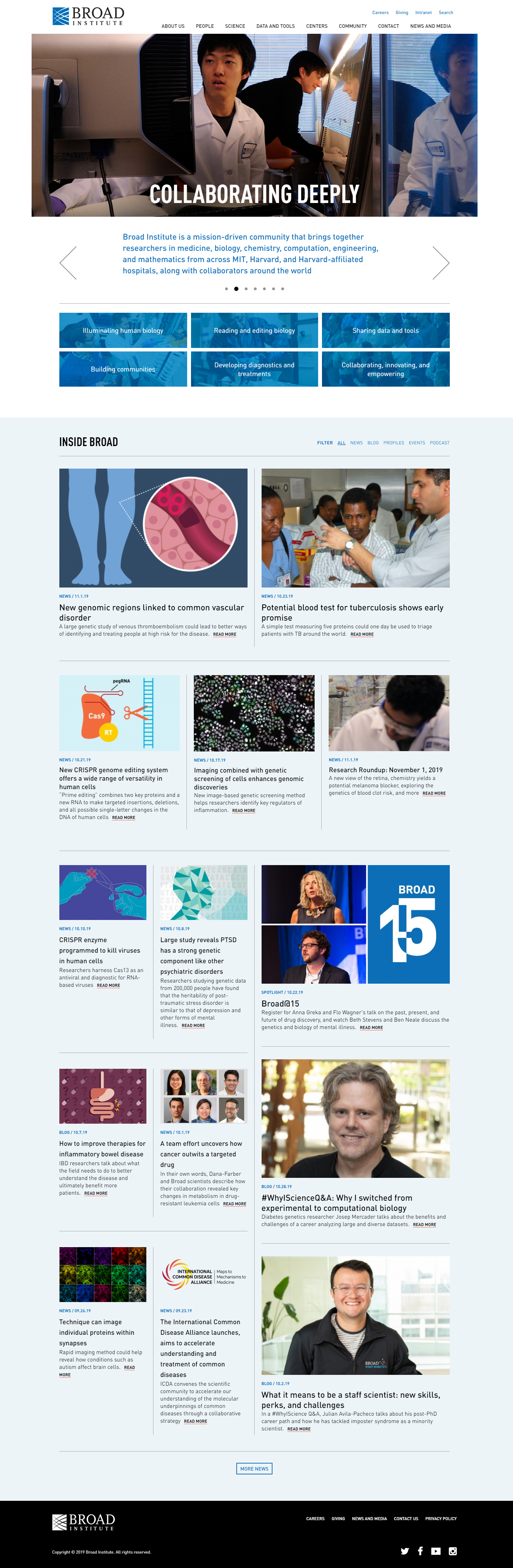 Broad Institute of MIT website development project