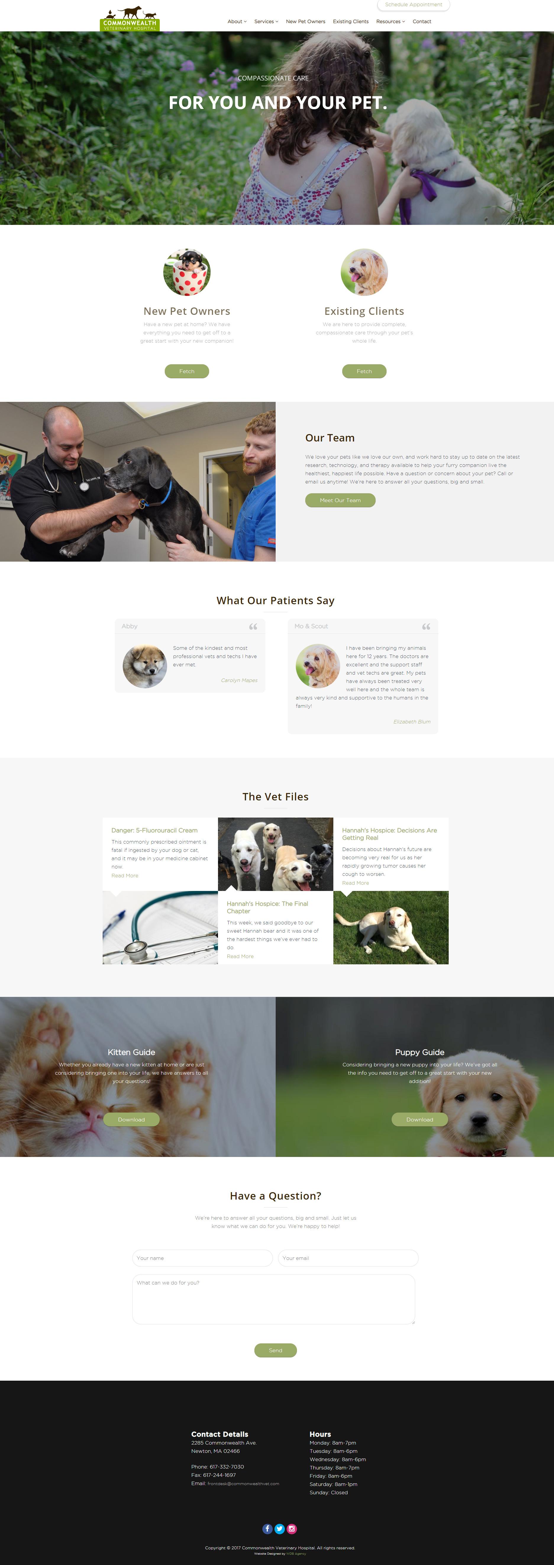 Commonwealth Vet website development project